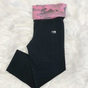 Pink by VS Camo Waistband Crop Leggings Size XS
